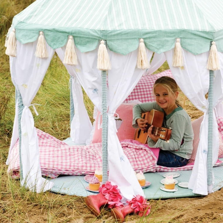 Cotton Play Tent Pavilion and Quilt -Willow Green