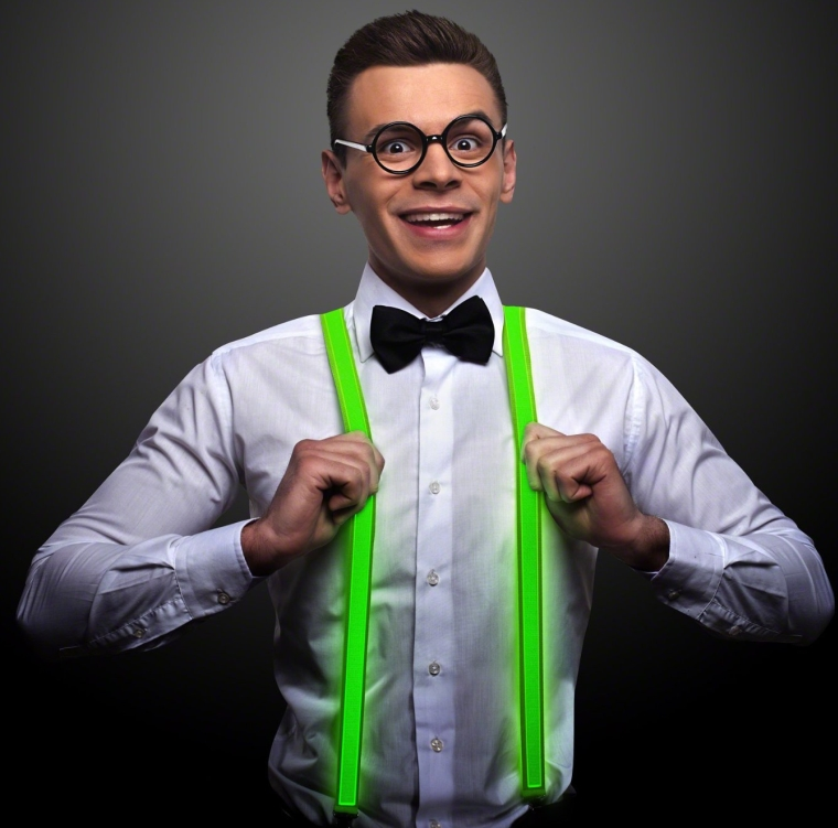 Green LED Light Up Suspenders