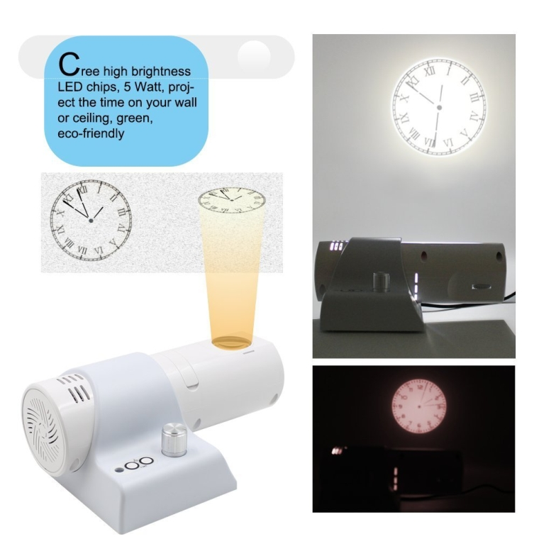 LED RomanArabic Numbers Clock 4-Color WallDesk Projection with LCD display