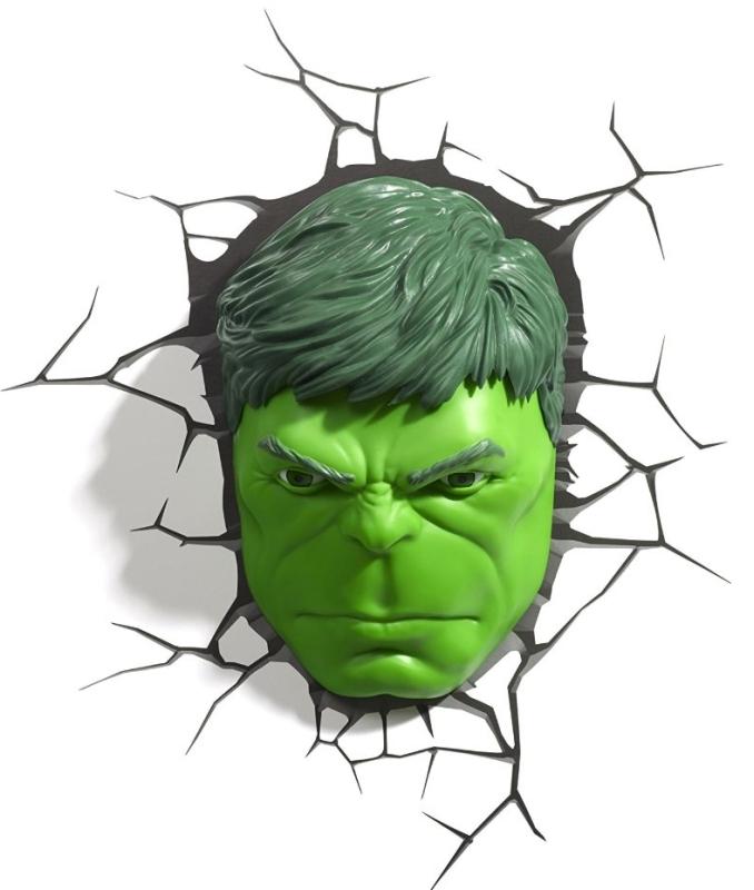 Marvel 3d Fx Deco Light Avengers Hulk Head Led Wall Light Nightlight