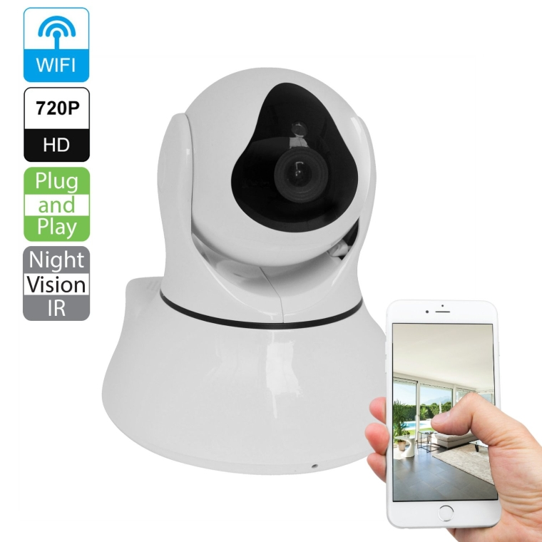R-Tech Plug  Play Megapixel 720p HD Wireless Pantilt 2-Way Audio IP Camera with Night Vision
