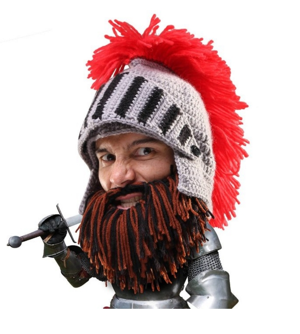 Barbarian Knight Knit Beard Hat