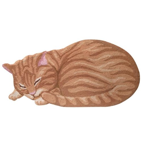 Cat Hand Hooked Area Rug