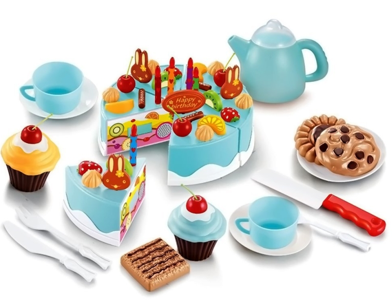 Cutting Fruit Birthday Cake Food Play Toy Set for Kids Children