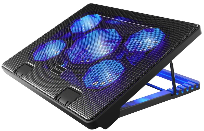 Laptop Cooling Pad Cooler Chill Mat with 5 Quiet Fans LED Lights
