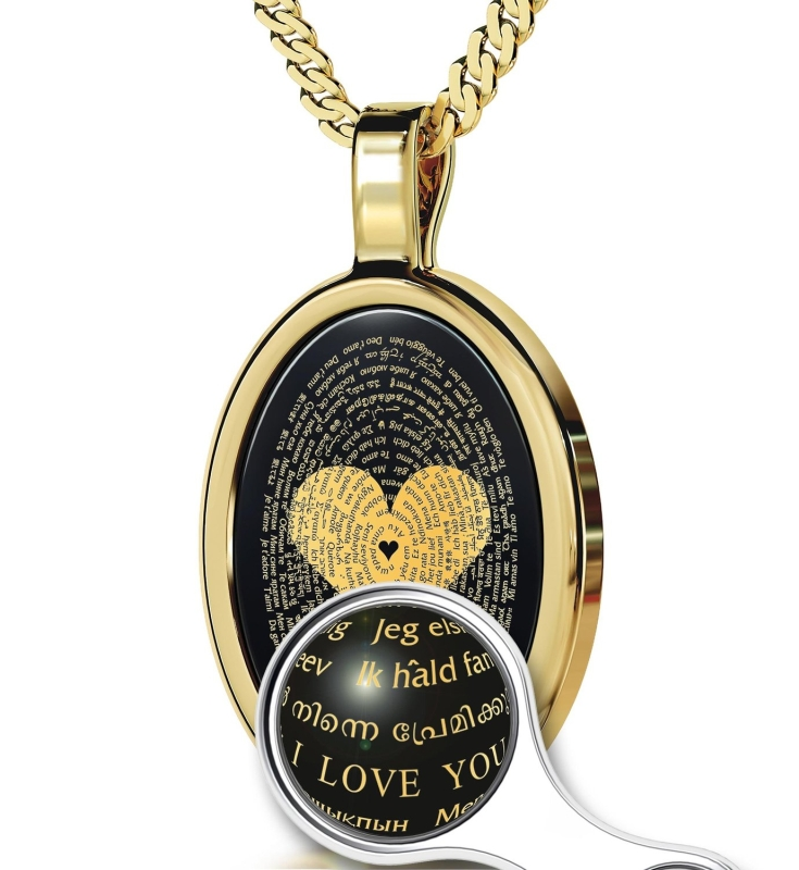Love Necklace Inscribed with I Love You in 120 Languages in 24K Gold on Onyx Pendant