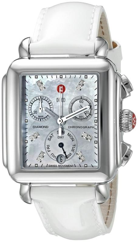 MICHELE Women's MWW06P000024 Deco Analog Display Swiss Quartz White Patent Leather Watch