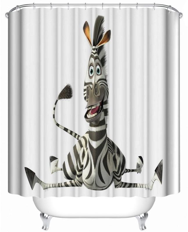 The cartoon A zebra Waterproof Fabric Shower Curtain