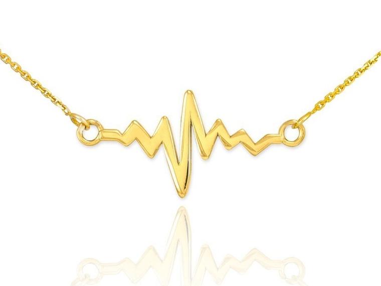 14k Yellow Gold Lifeline Pulse Pendant Heartbeat Necklace