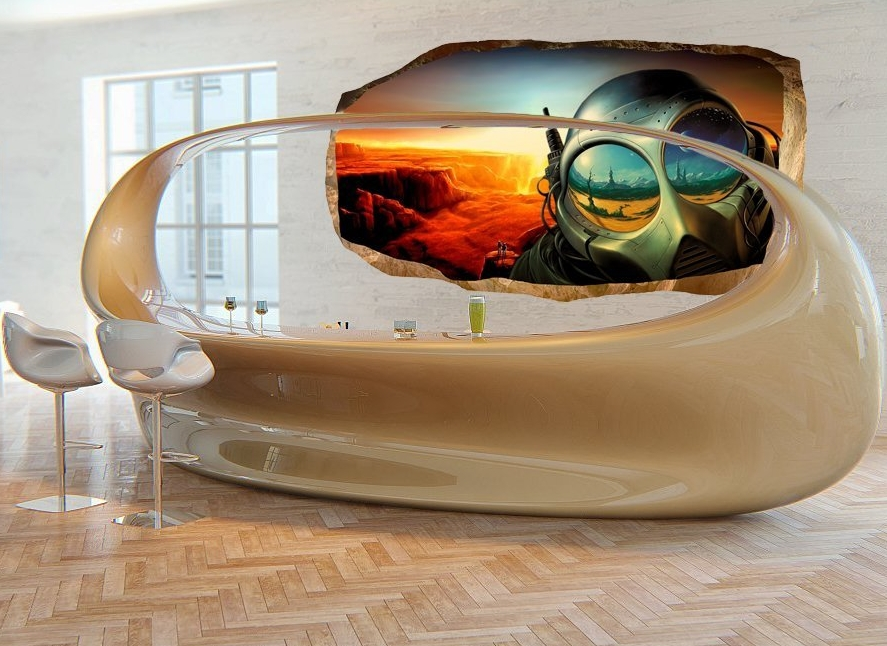 3D Mural Wall Art Photo Decor Future World Amazing Dual iew Surprise