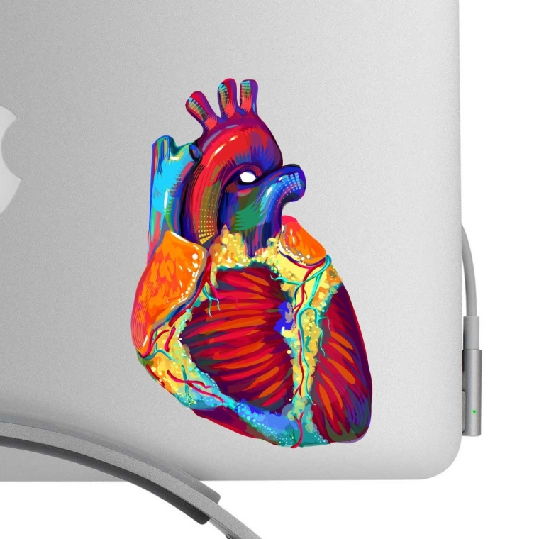 Beautiful Human Heart Artistic Full Color Post Impressionist Painted Style 5 Inch Decal