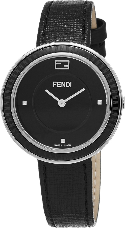 Fendi Women's 'MyWay' Swiss Quartz Stainless Steel and Black Leather Dress Watch