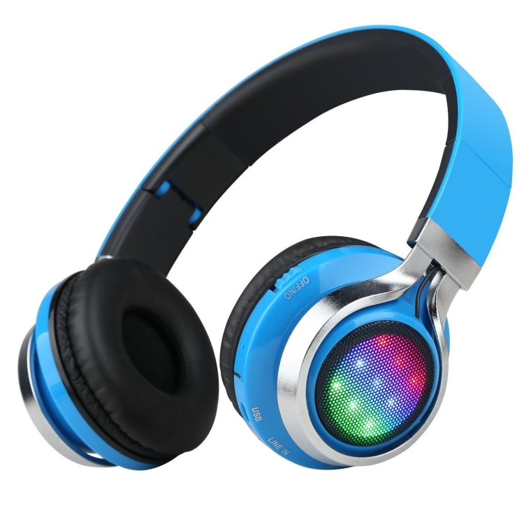 K8 Folding Wireless Bluetooth Stereo Headphones Adjustable Headsets with 3 LED lights