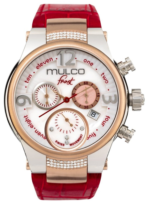 Mulco Frost Red Leather Band Women Watch with Swarovski Crystals