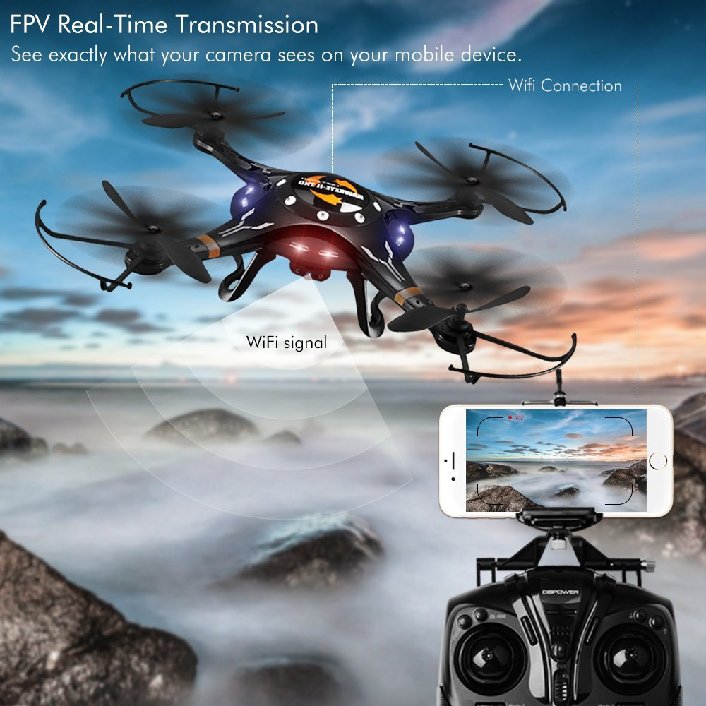 Upgraded FPV WiFi G-Sensor Control Hawkeye-II Quadcopter with One Key Taking-off & Landing Function and 720P HD Camera