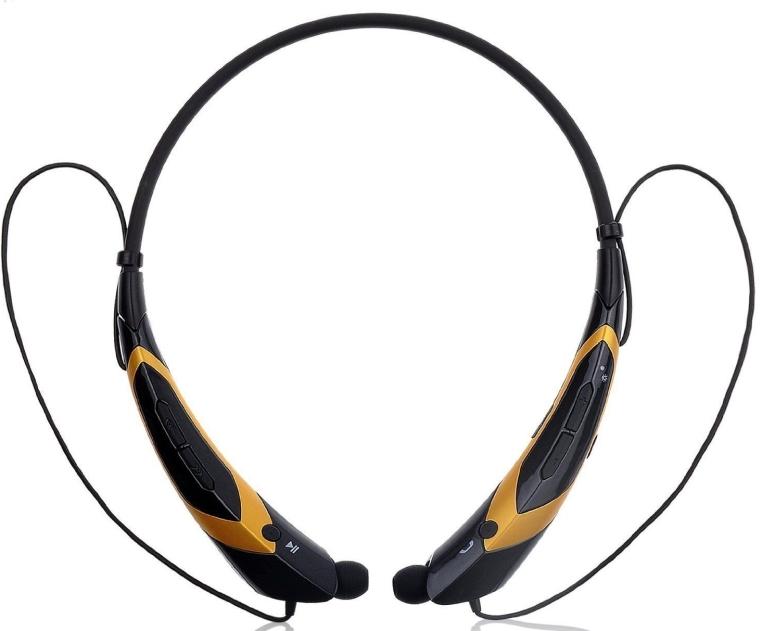Bluetooth Wireless Headset Headphone Earphone Stereo Sport Handfree Universal Black & Golden