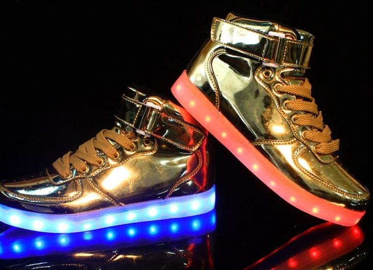 Men Light up Shoes Hot Mental Gold