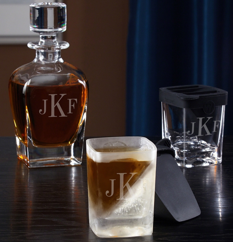 Monogram Decanter and Whiskey Wedge Glass Set