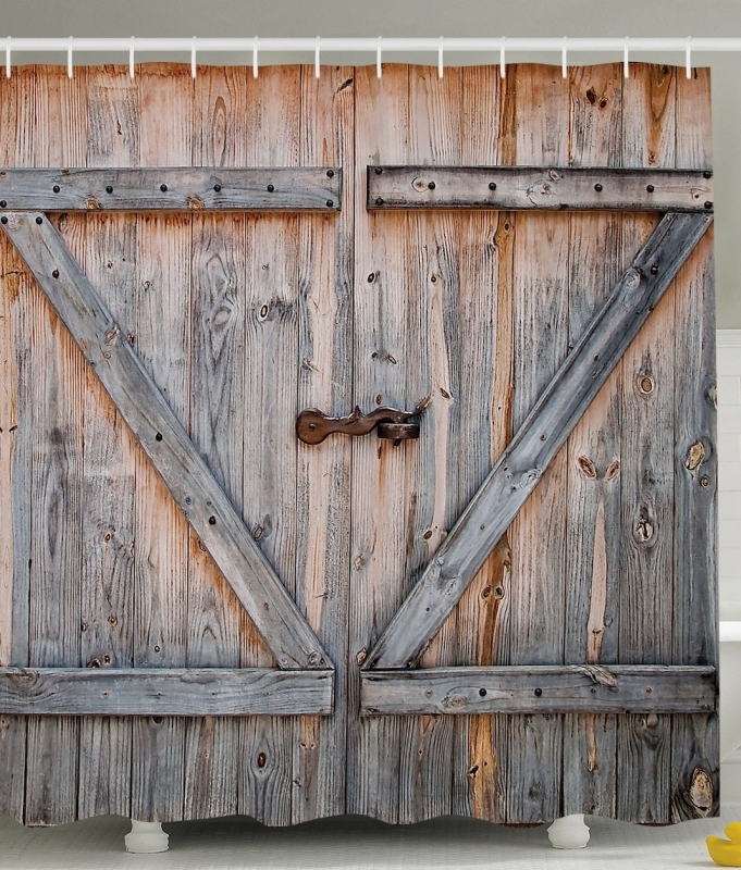 Old Wooden Garage Door American Country Style Decorations for Bathroom