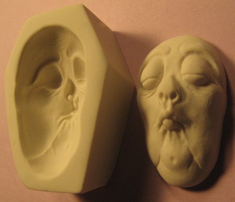 Rigid Polymer Clay Spinster Hag Doll Face Cab Push Press Molds Mould