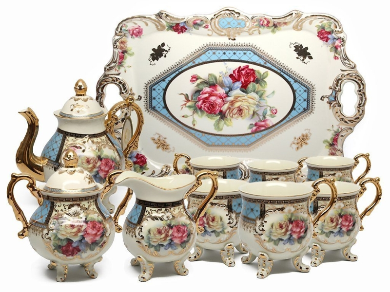 Royal Porcelain 10-Piece Vintage Floral Dining Tea Cup SET, Service for 6, Handmade & Hand-painted, 24K Gold-plated
