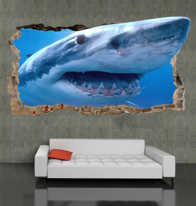 Startonight 3D Mural Wall Art Photo Decor Shark