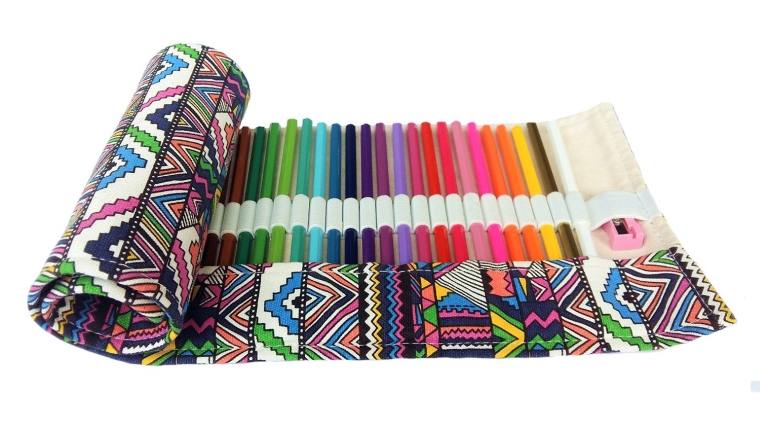 Colored Pencils for Adult Kids Coloring Art Set 48 with Canvas Wrap Holder and Sharpener