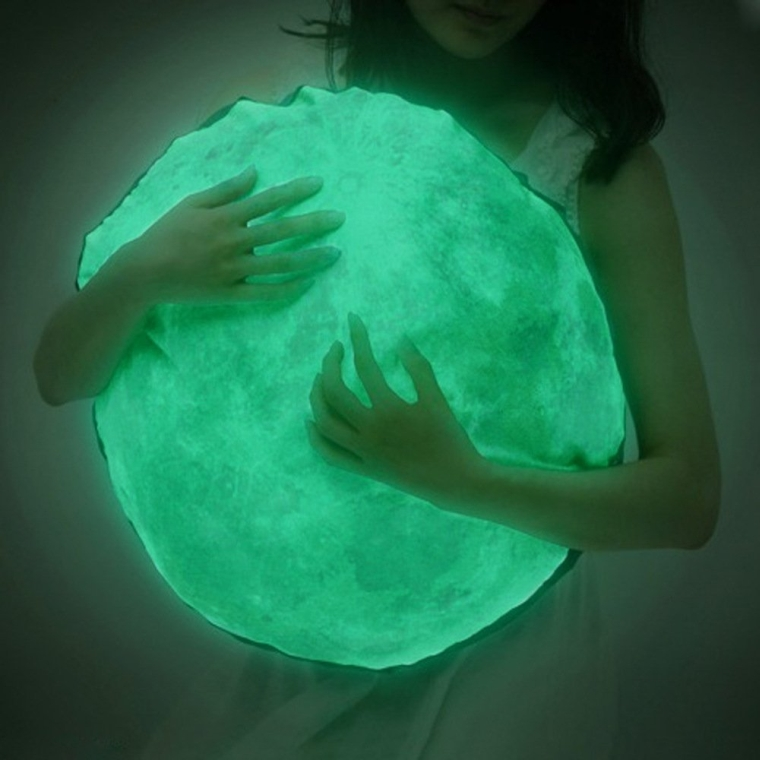 Glow in the Dark Moon Circle Plush Pillow