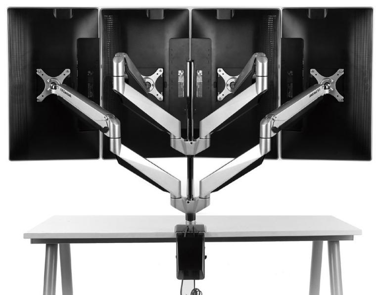 Loctek Full Motion Gas Spring LCD Arm Quad Monitor Mount Desk, Fits 10''-27'' Computer Monitor