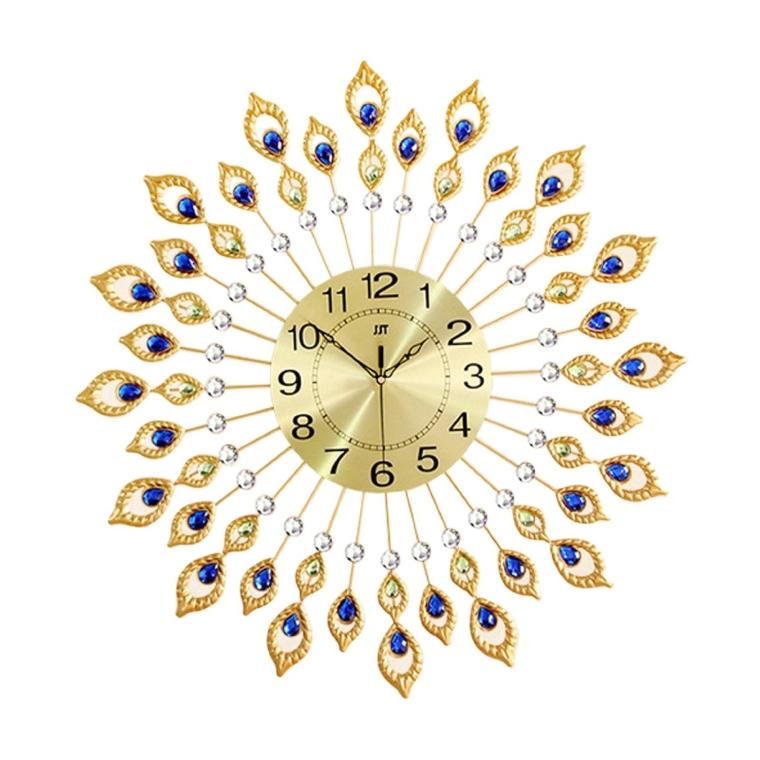 Luxury Peacock Feathers Metal Iron Art Wall Clock