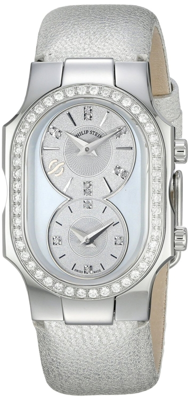 Philip Stein Women's Mother Of Pearl Diamond Bezel Silver-Tone Watch