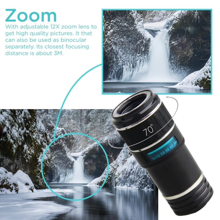 Professional 8X-12X Zoom Manual Focus Telescope Camera Lens Clip