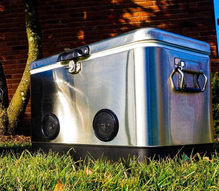 Stainless Steel Party Cooler with Bluetooth Speakers