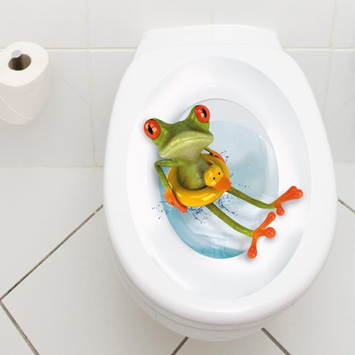 Toilet Lid Decal Frog with Lifesaver
