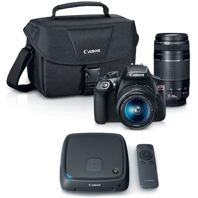 Canon EOS Rebel T6 SLR Camera w 18-55mm and 75-300mm Lens Kit + CS100 1TB Connect Station Storage Hub Bundle