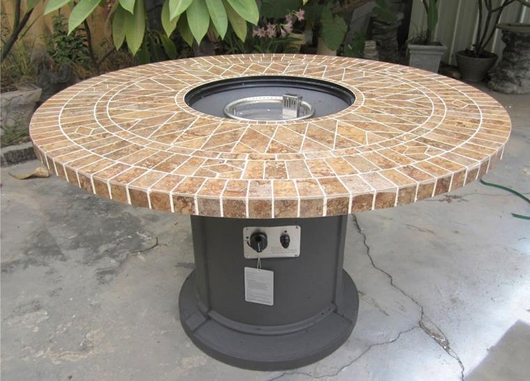 Porcelain Mosaic Tile Outdoor Fire Table Pit