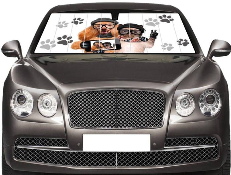 SELFIE Auto Shade Cool Trending Puppy Kitten Pal Pet Designs Sunshade