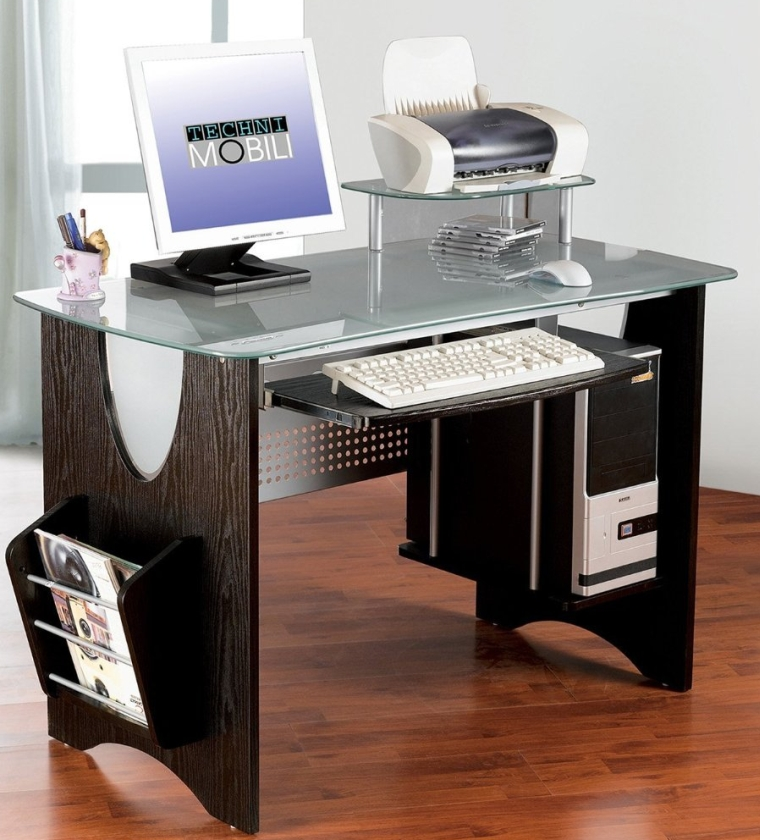 Stylish Frosted Glass Top Computer Desk with Storage