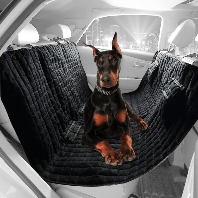 Water Repellant Box Quilted Heavy Micro Suede Black Soft Pet Hammock Seat Cover Bench