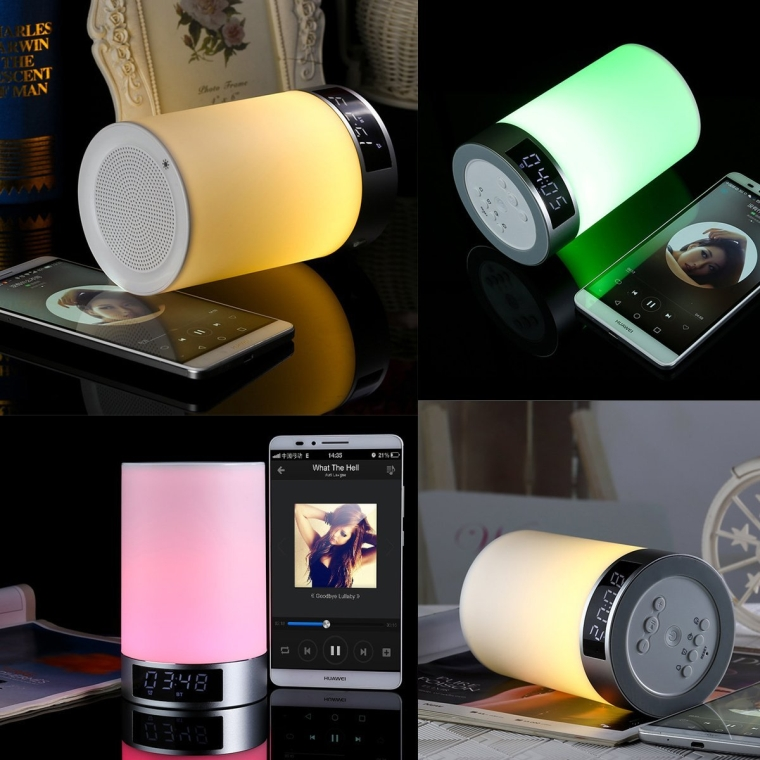 Wireless Bluetooth Speaker Touch Sensitive 6 Led Night Light Modes