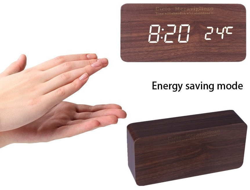 Wood LED Clock with Voice Control