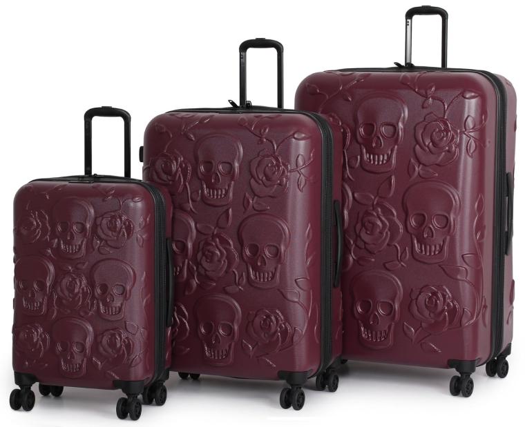 IT Luggage Duraliton Skulls and Roses 3 Piece Set