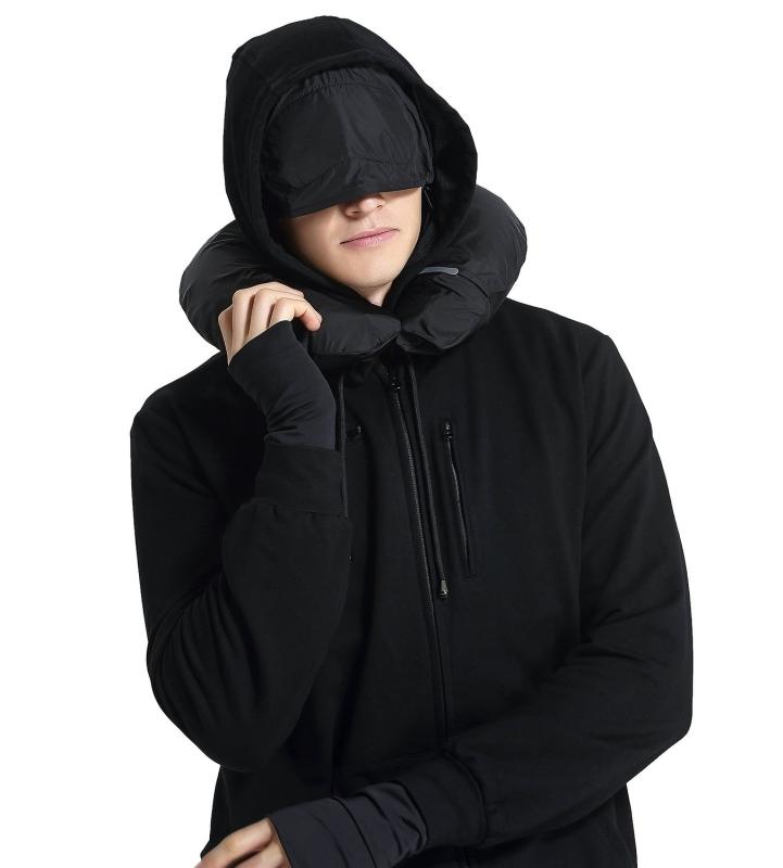 Men Travel Jacket Hoodie 10 Pockets Travel Pillow Eye Mask Face Mask Gloves