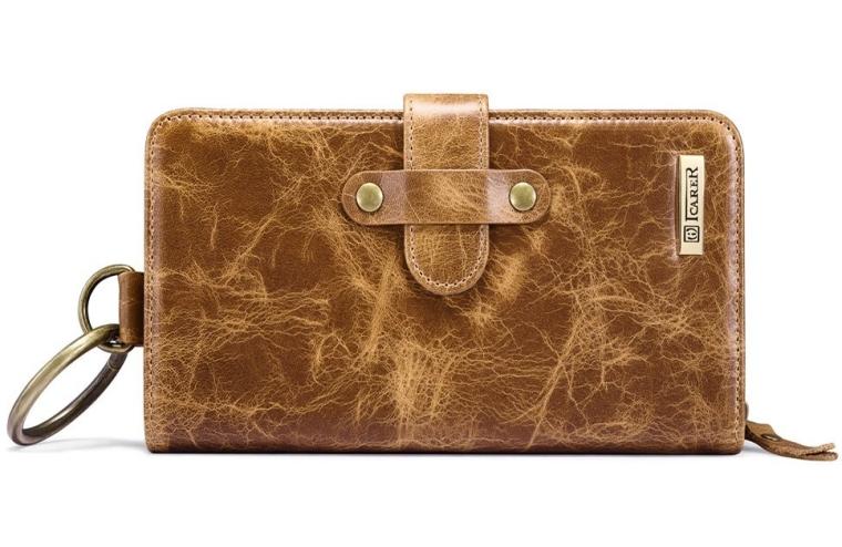 Multifunctional Genuine Leather Cellphone Handbag[Classical][Zipper Magnetic Design] Large Capacity Wallet Case