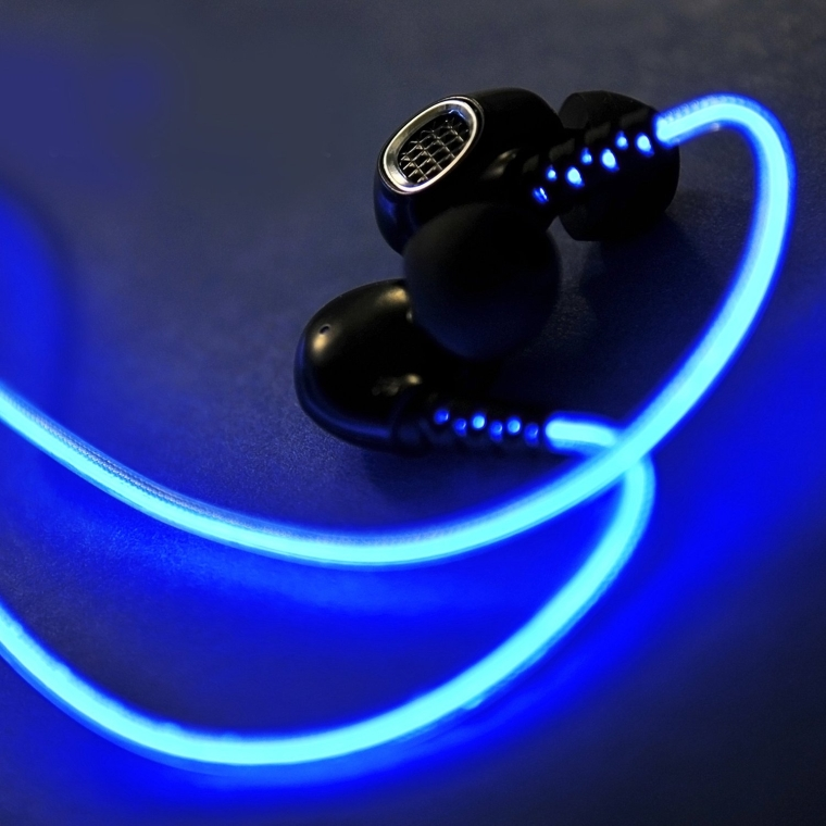 Rechargeable In-Ear Glowing Sports Headphones 3.5mm Jack Built-in Mic