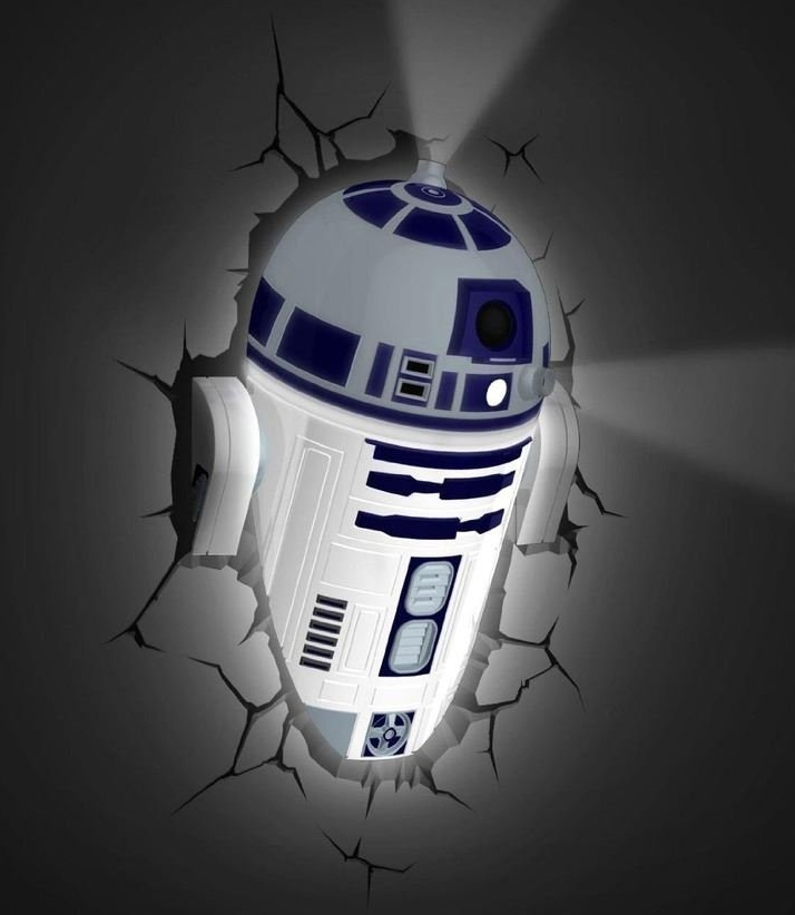 Star Wars R2-D2 3D Deco Battery Operated Wall Light with 3D Crack Sticker