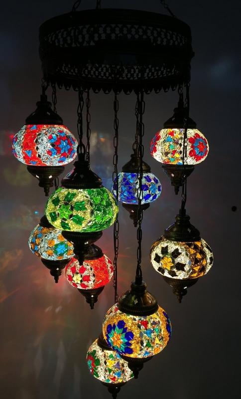 mosaic lamp chandelier moroccan lighting light glass Multicolor