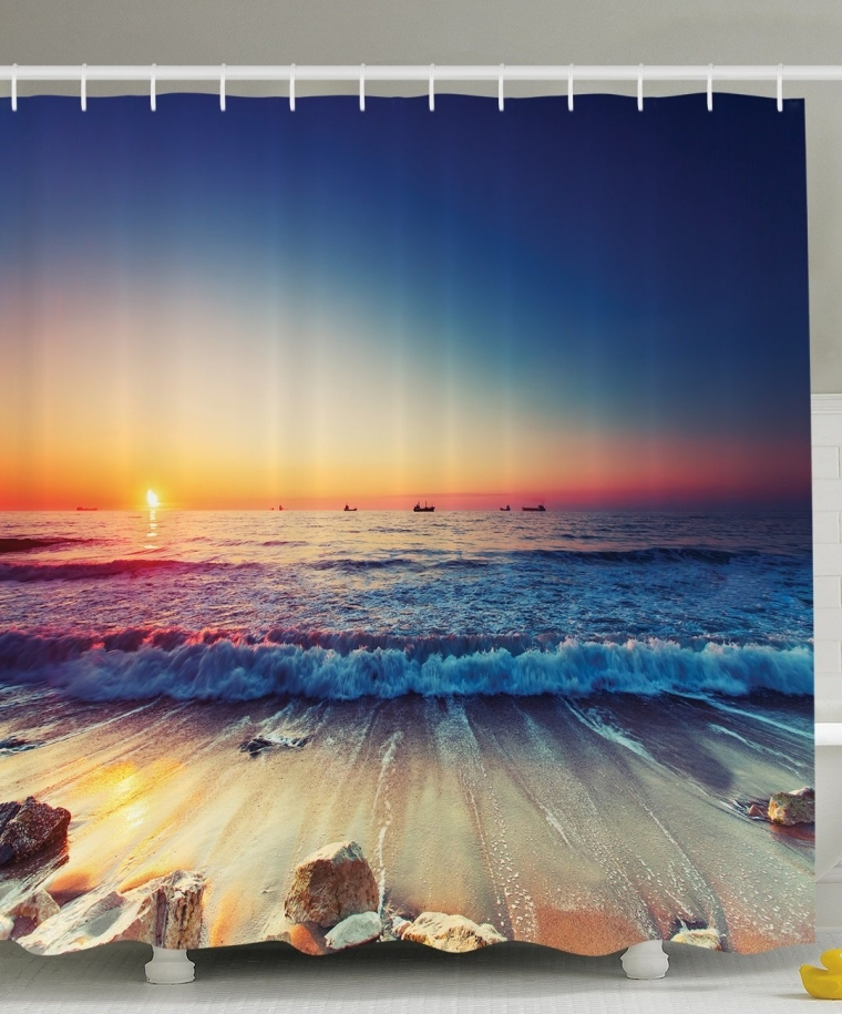 Nautical Decor Ocean Sunset Scenery Pictures Waves, Polyester Fabric Bathroom Shower Curtain Set