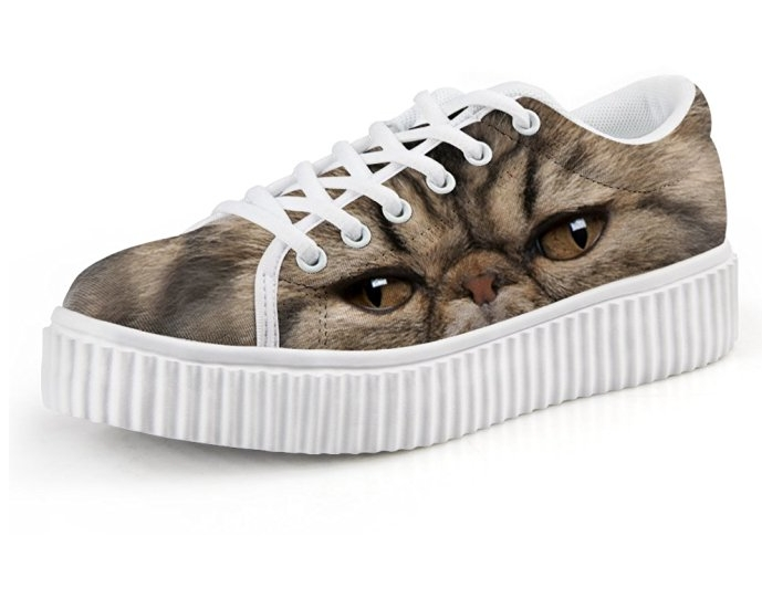 Cute Cat Print Women Low Top Platform Fashion Sneaker Lace-up Skate Shoe