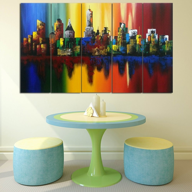 Extra Large Summer in the City Modern 5 Panels Abstract Cityscape 100% Hand Painted Landscape